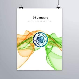 Día de la república de la india, póster con formas onduladas