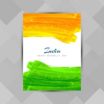 Día de la república de la india, póster con pintura acuarela