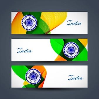 Día de la república de la india, tres banderas con formas onduladas