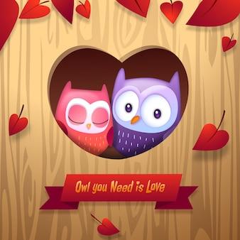 Día de los búhos de la abrazo de San Valentín con la ilustración del amor del corazón del árbol principal del vector