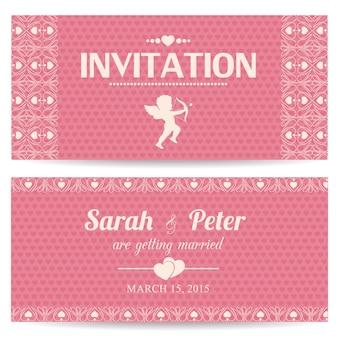 Día de San Valentín romántica tarjeta de invitación o postal ilustración vectorial