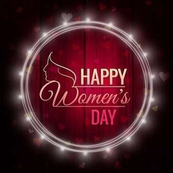 Día internacional de la mujer, fondo con un marco de luces