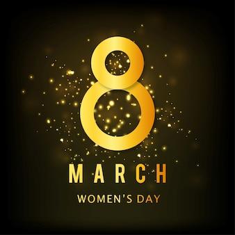 Día internacional de la mujer, fondo negro y dorado