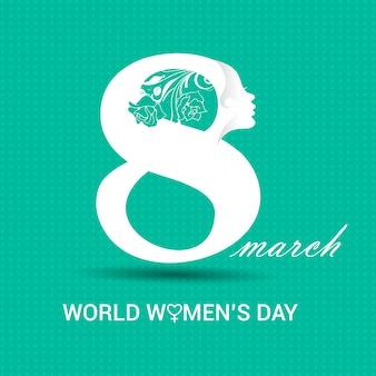 Día internacional de la mujer, fondo turquesa con un 8 blanco