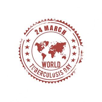 Día mundial de la tuberculosis, sello con un mapa