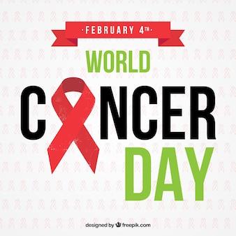 Día mundial del cáncer con un lazo rojo