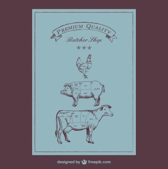 Diagrama de carnicería estilo retro