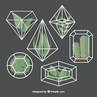 Diamantes fantásticos con plantas decorativas