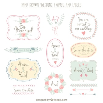 Dibujado a mano  marcos de boda y etiquetas