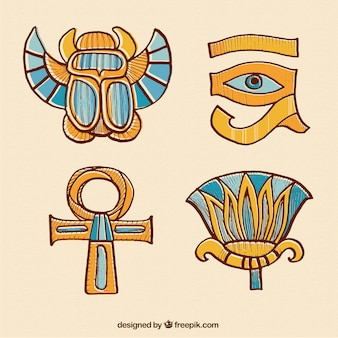Dibujado a mano adornos egipcios