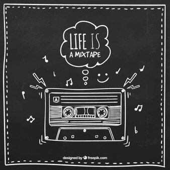 Dibujado a mano cinta de música retro