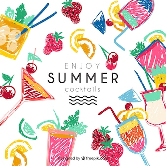 Dibujado a mano cócteles de verano