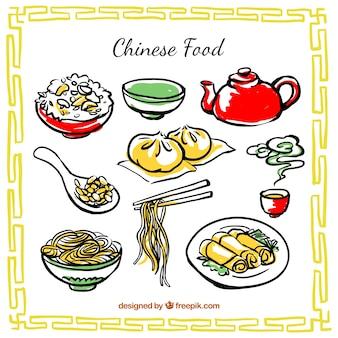 Dibujado a mano comida china