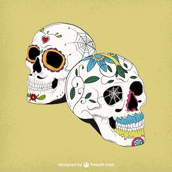 Dibujado a mano cráneos tradicionales de azúcar