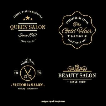 Dibujado a mano de oro elegante logotipos de peluquería