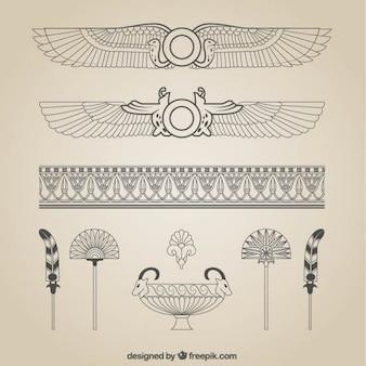 Dibujado a mano decoración egipcia