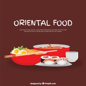Dibujado a mano delicioso menú oriental