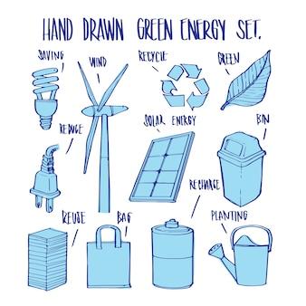 Dibujado a mano ecología y elementos, ilustración vectorial para infográfico u otros usos.