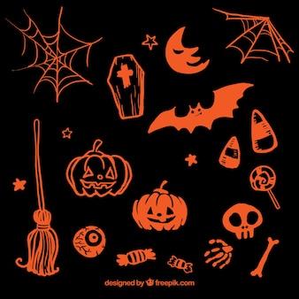 Dibujado a mano elementos de color naranja de halloween