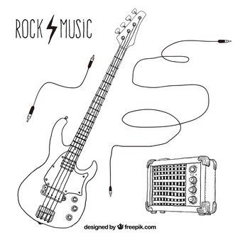 Dibujado a mano elementos de música rock