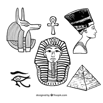 Dibujado a mano elementos egipcios
