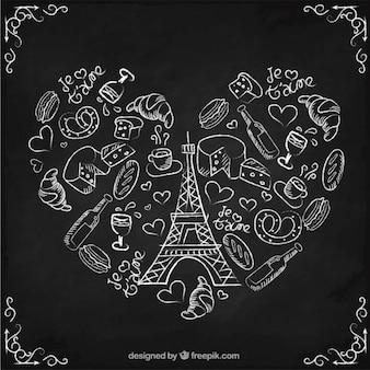 Dibujado a mano elementos parisinos haciendo un corazón