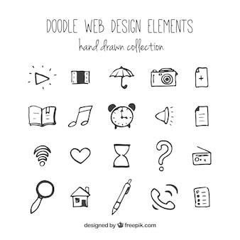 dibujado a mano elementos web y los iconos