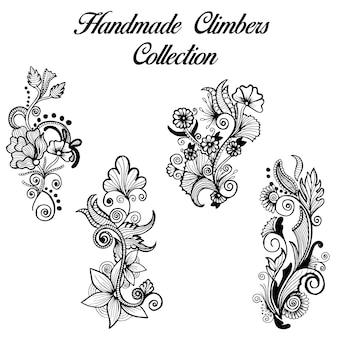 Dibujado a mano en blanco y negro Henna diseños escaladores colección