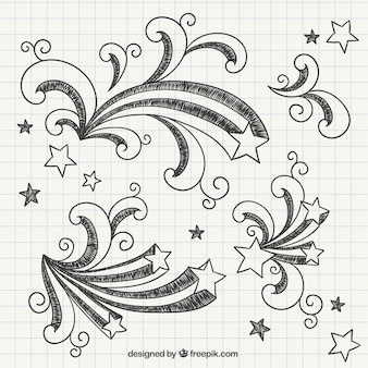 Dibujado a mano estrellas fugaces