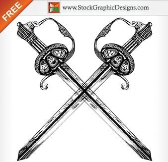 Dibujado a mano Heráldica Ilustración Espada Free Vector