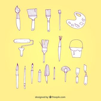 Dibujado a mano herramientas de pintor