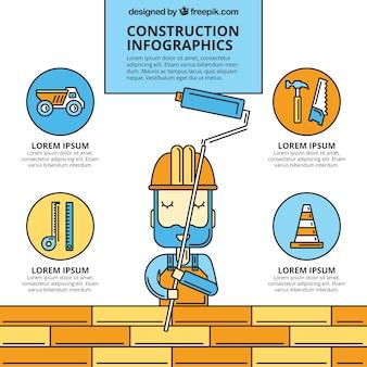 Dibujado a mano infografía trabajador