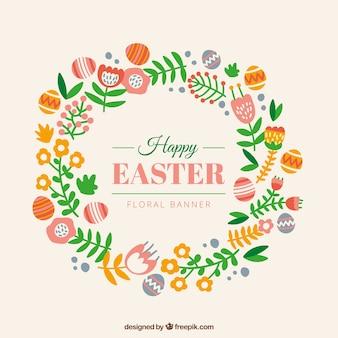 Dibujado a mano la corona de flores con huevos de Pascua