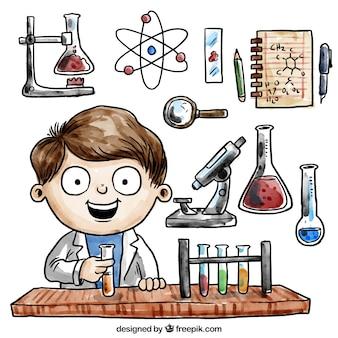 dibujado a mano la química de la acuarela