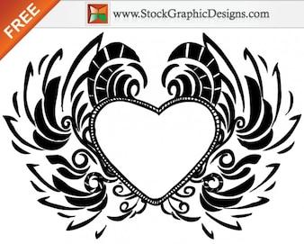 Dibujado a mano libre de amor de San Valentín corazón de vectores