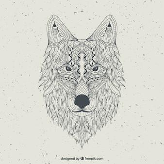 Dibujado a mano lobo abstracto