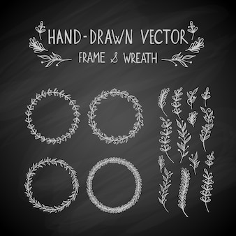 Dibujado a mano marco y corona