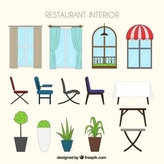 dibujado a mano muebles de restaurante