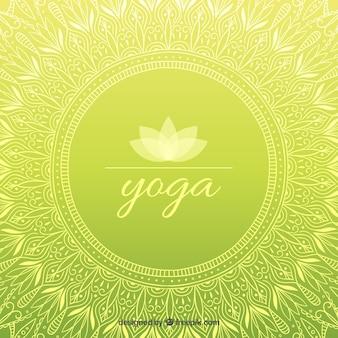 Dibujado a mano ornamental de yoga fondo verde