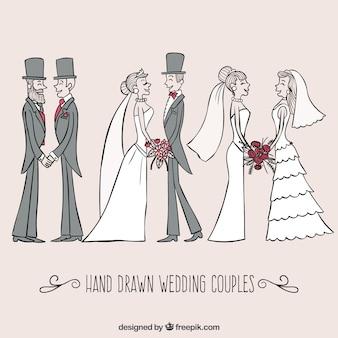 Dibujado a mano parejas de la boda