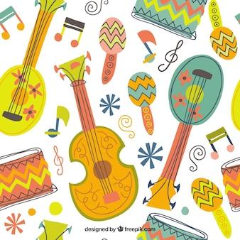Dibujado a mano patrón musical