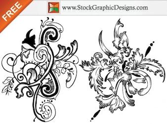 Dibujado a mano Set de flores vectoriales sin