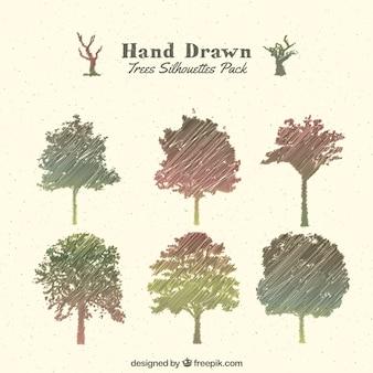 Dibujado a mano siluetas de árboles Pack
