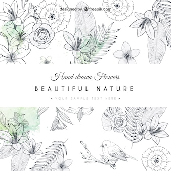 Dibujado a mano tarjeta de flores