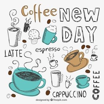 Dibujado a mano tazas de café