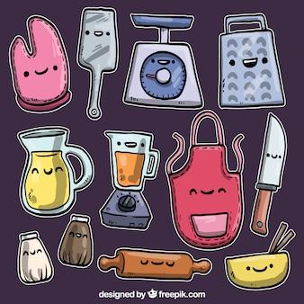 Dibujado a mano utensilios de cocina en estilo de dibujos animados