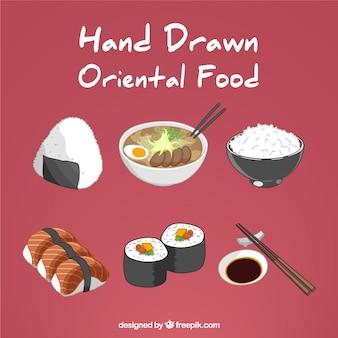 Dibujado a mano variedad de comida oriental