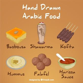 dibujado a mano variedad de menús árabe