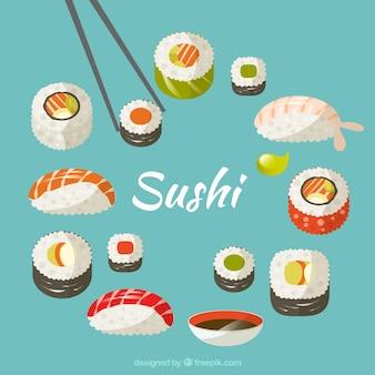Dibujado a mano variedad de sushi