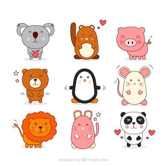 Dibujado buena colección de mano animal